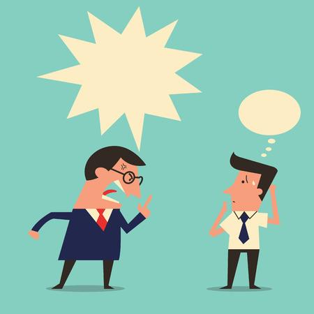 jefe enojado: Personaje de dibujos animados del jefe enojado está quejándose a trabajador subordinado con copyspace. Diseño simple con fácil escribir el texto o cambiar color.