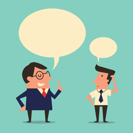 being: Character of manager or boss giving speech or instruction to subordinate worker who appear being confused or trying to get understanding. Simple design with  copyspace in speech bubble.