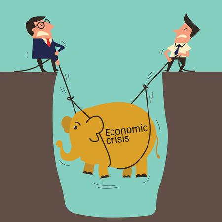 crisis economica: Dos hombre de negocios, mananger profesional con subordinado try trabajador se suba a un elefante de gran agujero, metáfora para levantar crisis económica. Diseño simple con copyspace, usted puede escribir su propio texto.