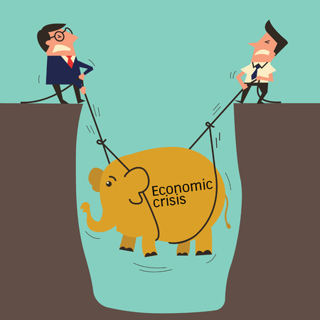 economic crisis: Two businessman, professional mananger with subordinate worker try to pull up an elephant from big hole, metaphor to lift up economic crisis. Simple design with copyspace, you can write your own text.