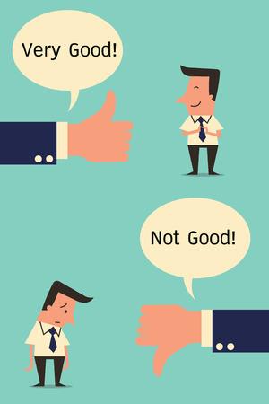 alabanza: El sentimiento y la emoci�n del hombre de negocios con la mano del asunto en la expresi�n positiva o negativa. Dise�o simple. Vectores