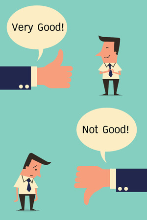 good and bad: Feeling and emotion of businessman with business hand in positive or negative expression. Simple design. Illustration