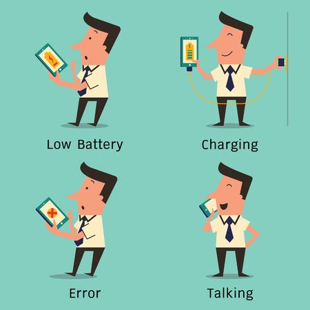 cable telefono: Hombre de negocios utilizando tel�fono inteligente de car�cter variedad, aturdido con bater�a baja, carga, confundido con el error, y hablando por tel�fono inteligente. Dise�o simple.