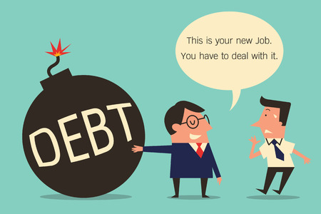 subordinate: Character of businessman cartoon, boss and subordinate, boss shows iron ball of debt to new employee for to deal with it. Metaphor to facing difficult problem and solution. Simple design.