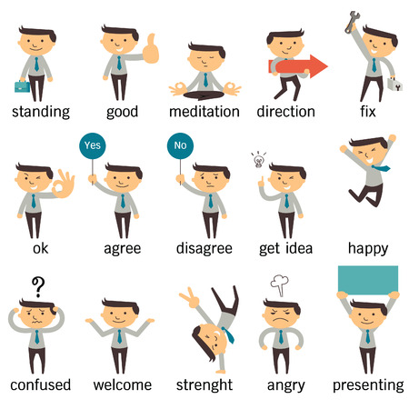 Set of businessman character or office person in various poses, expressing feeling and emotional concept, isolated on white. Vectores