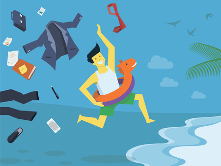 Businessman undress his suite and clothes, leave his office things and stop working,  run with swim rubber ring to the beach,  holiday and summer concept. Vector