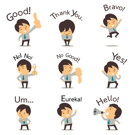 Set of cut businessman or office worker pose in various characters expressing feeling and emotion in communication concept.
