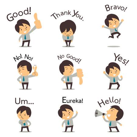 Set van gesneden zakenman of kantoormedewerker poseren in verschillende personages uiten van gevoel en emotie in de communicatie concept. Stock Illustratie