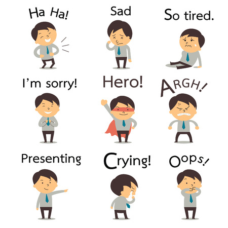 cartoon emotions: Set 2 of cute businessman or office worker pose in various characters expressing feeling and emotion in communication concept. There is more set in my portfolio.