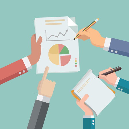 Businessman hands busy with paper and financial chart and graph, while secretary hand take note on notepad. Flat design style. Illustration