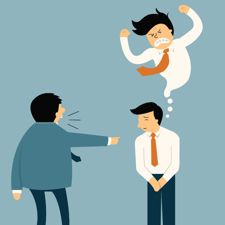 but: Businessman being complaint by his senior businesspeople, he appear smiley face but in his mind very angry. Funny cartoon illustration in feeling and emotion business concept.