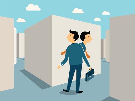 사업가 잃고 labylinth, 전략, 솔루션, 문제에 비즈니스 개념, 혼란, 손실 방법으로 혼동, 또는 밖으로 이동하는 방법을 찾을 수 있습니다.