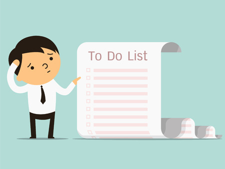 Businessman confused with long paper note with to do list, business concept in a lot of things to do. You can write your text or design in copy space. Illustration