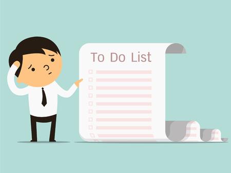 To do リスト、やるべきことの多くのビジネス概念の実業家と長いペーパー ノートと混同。コピー領域にテキストやデザインを書くことができます。