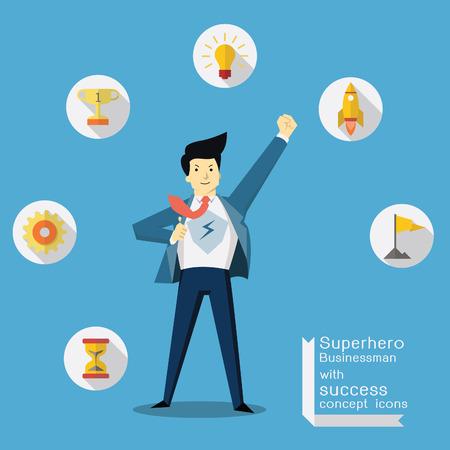 Hombre de negocios del super héroe con éxito y concepto de la visión iconos, diseño plano de moda.