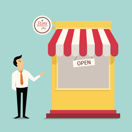 Happy and smiling businessman standing show his hand, presenting to new store in trendy flat design. Vector