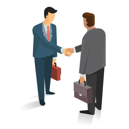 Full length portrait of two businessman shaking hands in making a deal or an agreement. Vector Illustration