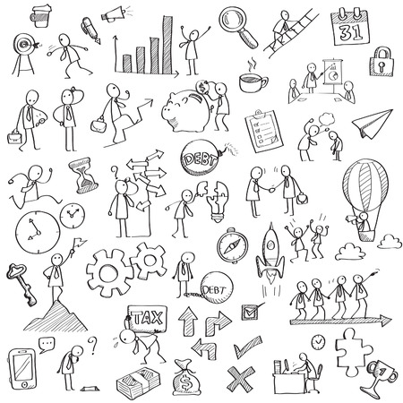 cartoon tick: Sketching and drawing of businessman character in various concept of business, finance, feeling, emotion, working, vision and strategy, money, or with many office object.
