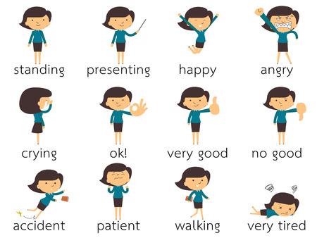 Set der Unternehmerin in verschiedenen Posen und Gefühl und Emotion auszudrücken, isoliert auf weiß Illustration