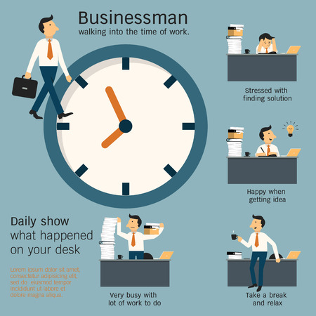 Businessman walking in office and show what daily happening on desk in the workplace around the clock. Simple character with flat design.