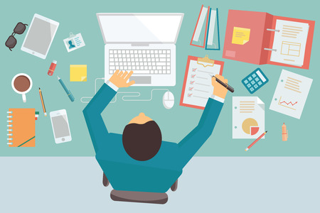 Businessman working and busy on his desk with laptop and office equipment, in style of trendy flat design. Illustration