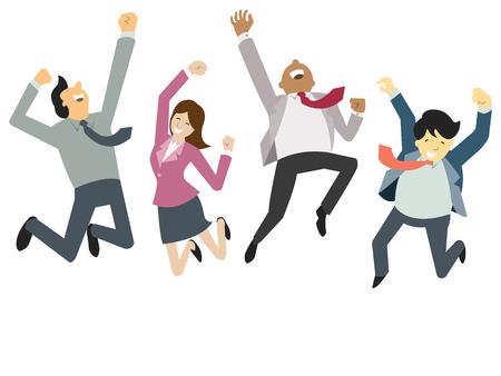 празднование: Счастливые и успешные бизнесмены, прыжки в воздухе, бизнес-концепции в команде и корпорации. Иллюстрация