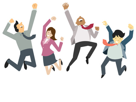 team success: Happy and successful businesspeople, jumping in the air, business concept in teamwork and corporation.