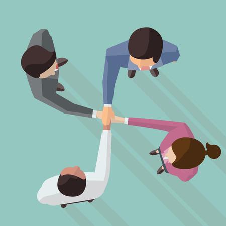 trabajo en equipo: Ilustración vectorial de negocios y la mujer se dan la mano al tocar la parte superior de uno al otro, el diseño de diseño plano con una larga sombra, vista desde la vista superior. Vectores