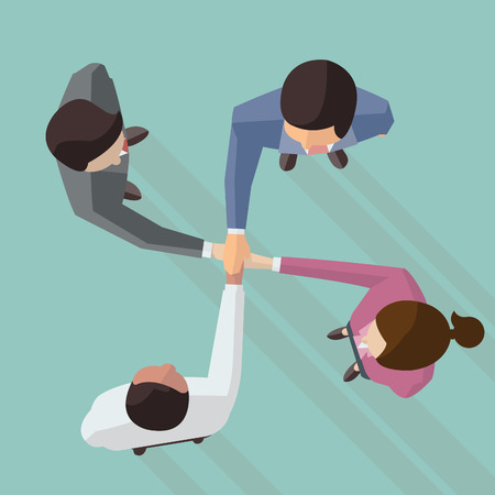 group  join: Vector illustration of businessman and woman join hands by touching top of each other, design in flat design with long shadow, view from top view. Illustration
