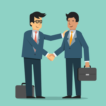 Businessman giving shaking hands and support friend, partner, subordinate or colleague to join business. Trendy flat design.
