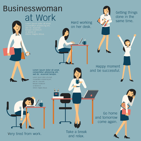 Character cartoon set of businesswoman or office person daily working in workplace, go to work, work on her desk, get tired, happy, take a break, busy, and go home. Simple design. Иллюстрация
