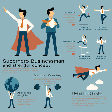 super human: Character cartoon set of superhero businessman with in strength concept, be strong, winning, powerful man, flying hign, concentration, and get over the obstacle. Flat design.