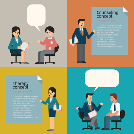 advice: People in counseling and therapy concept,  including guidance and analysis. Cartoon man and woman in trendy flat design. Illustration