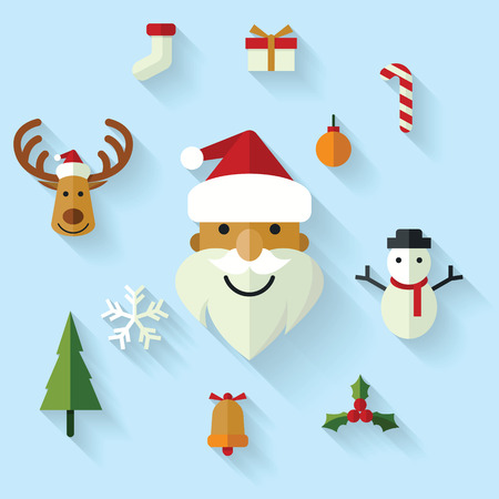 stocking cap: Christmas icons set in flat design style with long shadow. Illustration