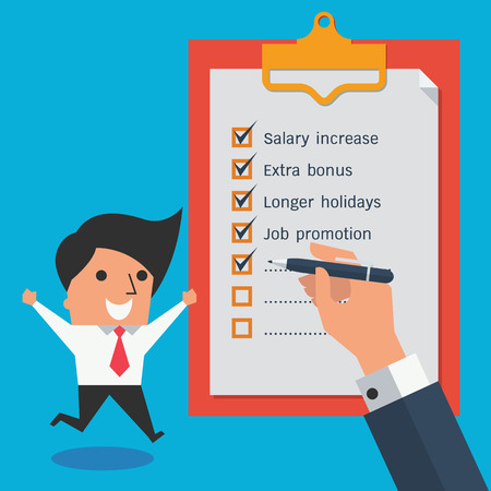 salary man: Happy with salary increase. Cute character of happy businessman jumping and raising hands beside clipboard with check list and business hand holding pen. Flat design with copy space for text and design. Illustration