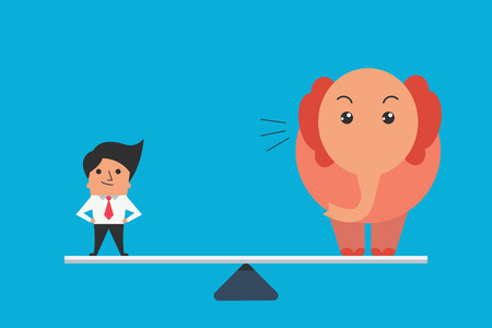 personne seule: Caract�re mignon de l'�quilibre homme d'affaires debout avec grand �l�phant, concept d'entreprise en une seule personne ne peut �galer ou comparer � la grande masse des �l�phants. Design plat.