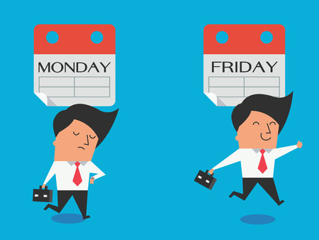dissappointed: Cute character of businessman expressing feeling and emotion to Monday and Friday in different gesture, feel bad and happy. Flat design.