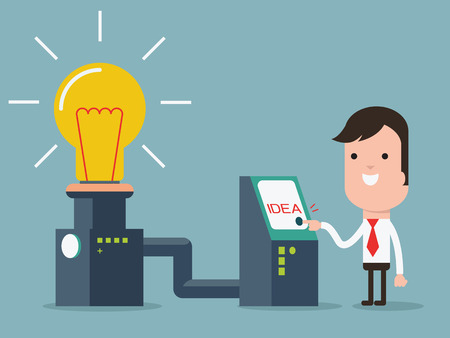 Businessman turn on invention machine for glowing lightbulbs, representing to creat idea.