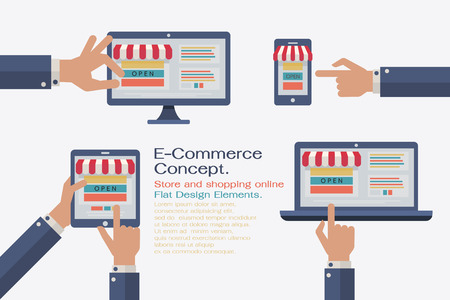 online trading: Flat design vector illustratation elements, e-commerce and shopping online concept. Illustration