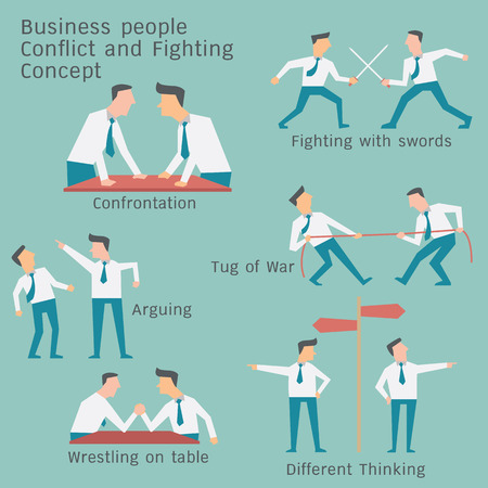tug: Business people in conflict and confrontation concept. Simple character design. Illustration