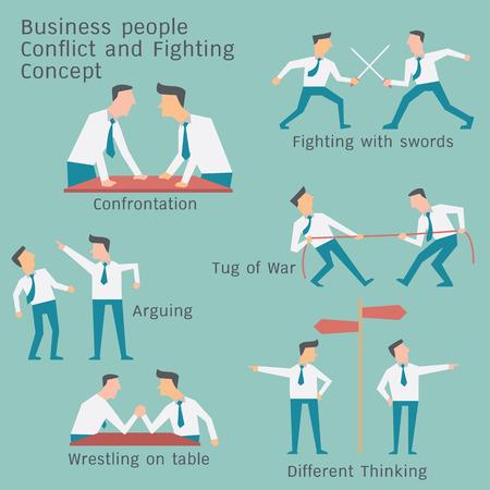 Geschäftsleute in Konflikt und Konfrontation Konzept. Einfache Charakter Design.
