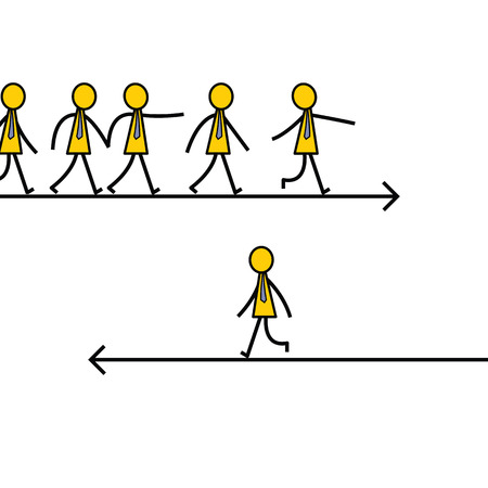 Businessman choose and walk on different direction from other, unique and different thinking concept. Simple character design.