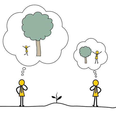 think big: Think big concept, presenting with businessman growing sprout of tree and expect for bigger tree. Simple character design.