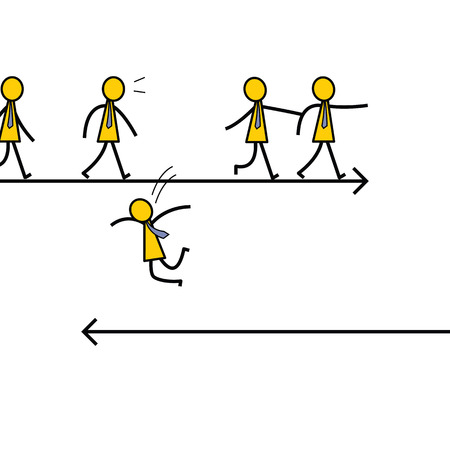 different thinking: Businessman jumping out of crowd to another direction, unique and different thinking concept. Simple character design.