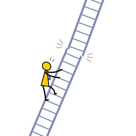 unreliable: Businessman climbing up the ladder and find out the ladder immediately being broken, metaphor to risk and dangerous situation concept. Simple character dedign.
