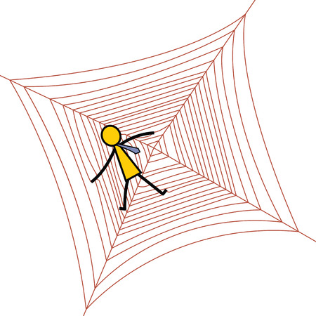 trapped: Businessman being trapped in spider net, business concept in trapped, risk, or dangerous situation. Simple character design.