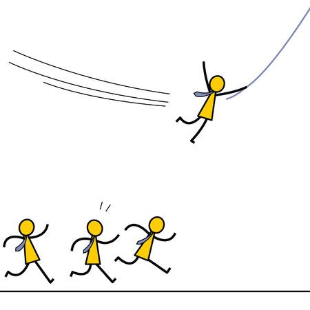 competencia: Empresario encontrarse a s� mismo una oportunidad mejor o ganar ventaja competitiva para ir hacia adelante moviendo con una cuerda, mientras que los otros s�lo se ejecuta en el suelo. Dise�o de personajes simple.