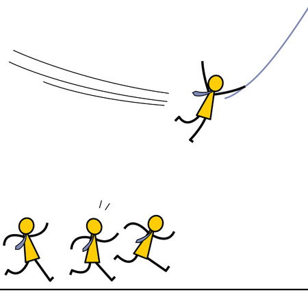 Businessman find himself a better opportunity or gain competitive advantage to go forward by swinging with a rope, while the others just running on the ground. Simple character design.