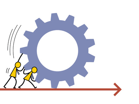 business partnership: Abstract vector illustration of businessman helping each other to push the gear going forward. Business concept in partnership or teamwork working into the same direction. Simple character design.