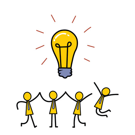 intelligent partnership: Businesssman celebrate their big idea after brainstorming, presenting with glowing lightbulbs. Simple character design.